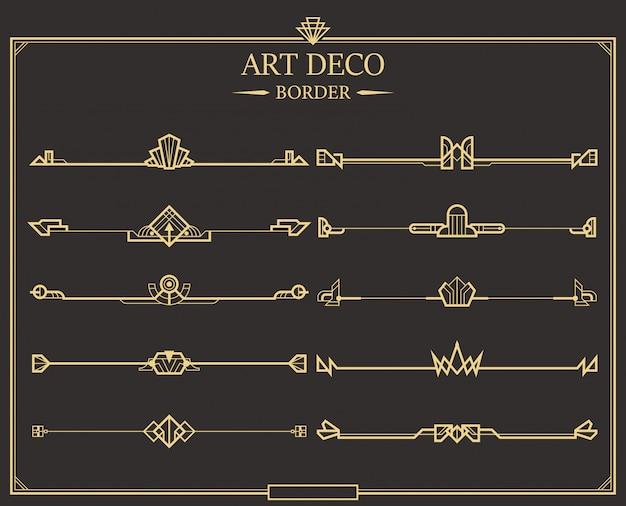 Набор арт-деко золотых каллиграфических разделителей страниц.