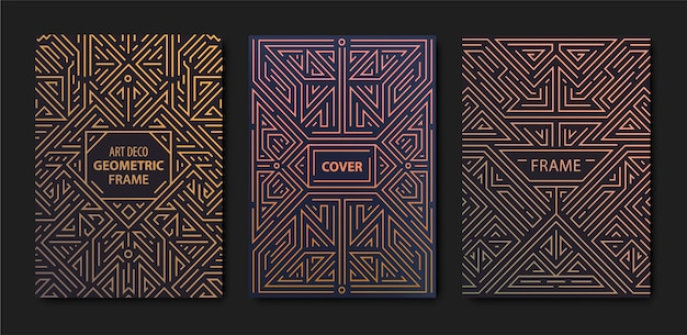 アールデコ調のゴールデンカバーのセット。クリエイティブなテンプレート。幾何学的形状、装飾品