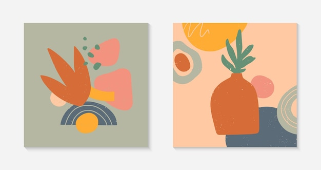 꽃병, 잎, 유기 모양 및 요소가 있는 현대적인 벡터 삽화 세트
