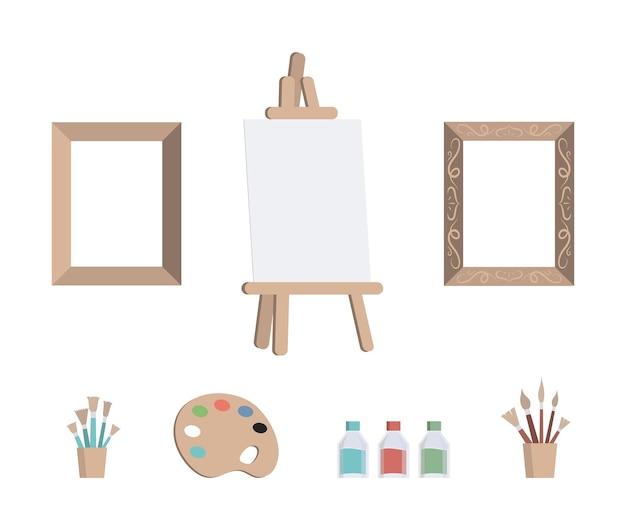 Набор художественных инструментов для рисования дизайна иллюстраций Premium векторы