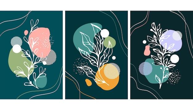 Набор художественной стены с растениями и абстракцией