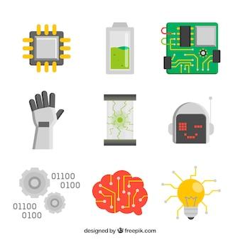 평면 디자인의 인공 지능 요소 집합