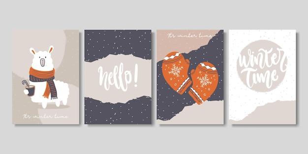 예술적 창조적인 겨울과 크리스마스 카드 세트입니다.