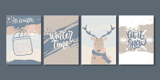 芸術的な創造的な冬とクリスマスカードのセットです。