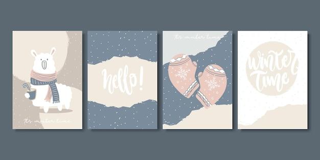 예술적 창조적인 겨울 카드 세트입니다.