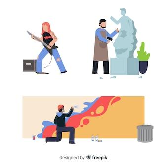 Набор художников на работе