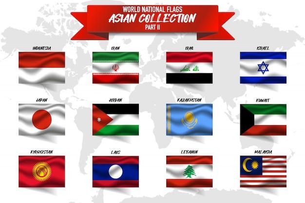 世界地図背景にアジアの国の国旗のセット。