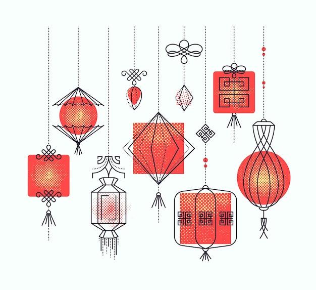아시아 거리 및 휴일 등불, 중국 문화 장식의 집합입니다. 모노 라인 및 하프 톤 개체