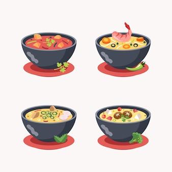 Набор азиатских типичных супов кухни таиланда иллюстрации еды
