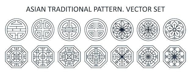 Набор азиатских различных геометрических традиционных узоров