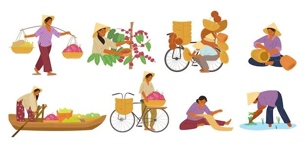 働く円錐形の麦わら帽子のアジアの女性のセット。
