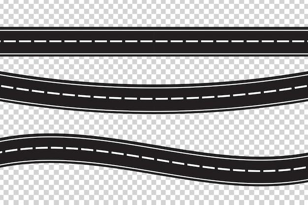 透明な背景にアスファルト道路のセット。物流、旅、配送、輸送の概念。