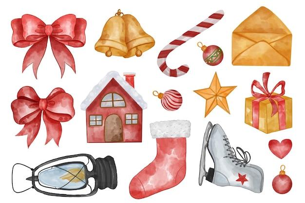 資産クリスマス水彩イラストのセット