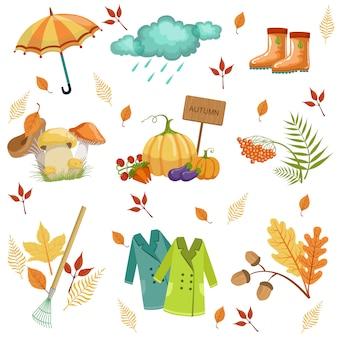 Набор связанных с осенью объектов