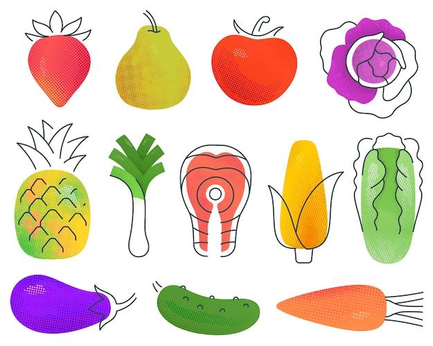 Набор ассорти разноцветных фруктов и овощей в стиле минимализма