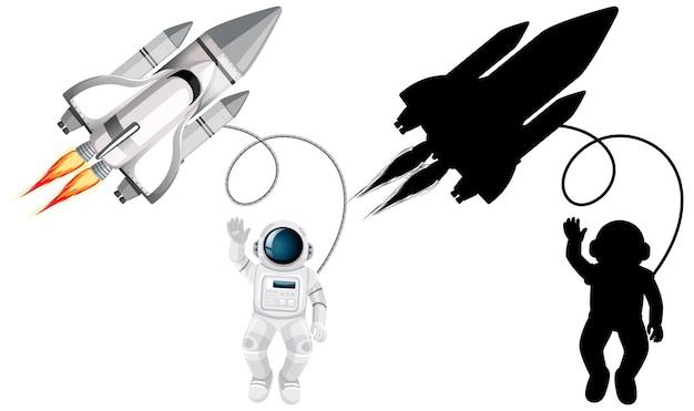 宇宙飛行士のキャラクターと白い背景のシルエットのセット