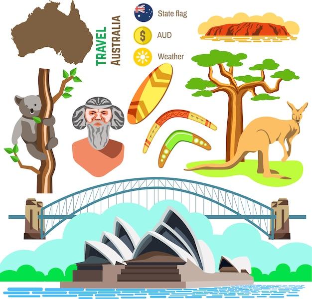 オーストラリア文化のシンボルのセットです。