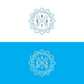 Набор авто логотипа со стилем линии передач и гаечного ключа, изолированные на фоне для автомастерской