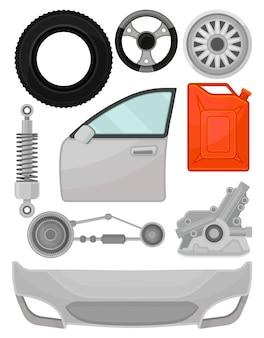 自動車部品のセット。ドア、フロントバンパー、ステアリングホイール、タイヤ、ショックアブソーバー。車の修理サービスの要素