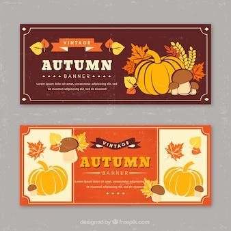 ヴィンテージデザインの秋のバナーのセット