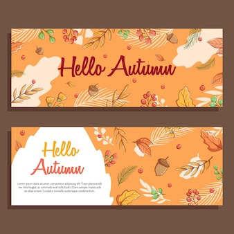 レタリングと紅葉のバナーの秋のカードデザインのセット
