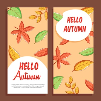 レタリングと紅葉の感謝祭や季節のデザインの秋のカードのセット