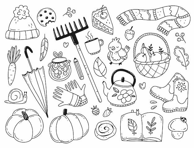 背景に分離されたシンプルな落書きスタイルのイラストの秋の要素のセット居心地の良い秋