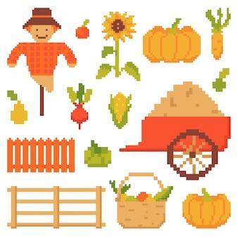 白い背景で隔離秋の要素のセット8ビットピクセルアートスタイルのベクトル図