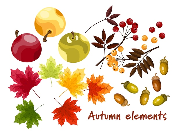 秋の要素のセット。