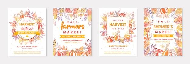Набор осенних баннеров фермерского рынка с листьями и цветочными элементами. местный дизайн фестиваля еды, идеально подходящий для принтов, листовок, баннеров, приглашений. фестиваль урожая осенью. векторные иллюстрации осени.