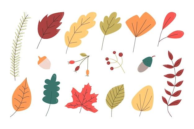 Набор осенних листьев, ягод и желудей. плоские векторные иллюстрации