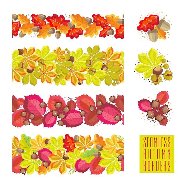 Набор осенних бесшовных границ: листья каштана, дуба, лесного ореха и желудей.
