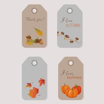 Набор осенних ярлыков на день благодарения или сезонный дизайн с тыквами, грибами, желудями и осенними листьями.