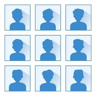 アバタープロフィール画像アイコンのセットです。水色の背景に青いシルエット。肖像画の男性。図