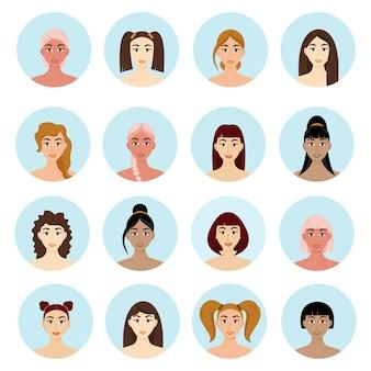 Набор женских причесок аватар. красивые молодые девушки с разными прическами, изолированные на белом фоне.