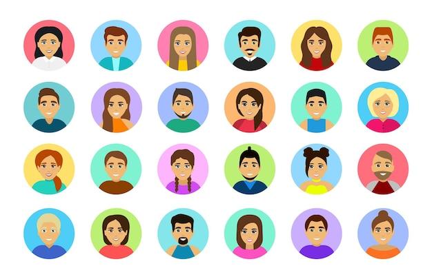 아바타 프로필의 집합입니다. 남성과 여성의 초상화. 남성과 여성 아바타 계정. 평면 아이콘입니다.