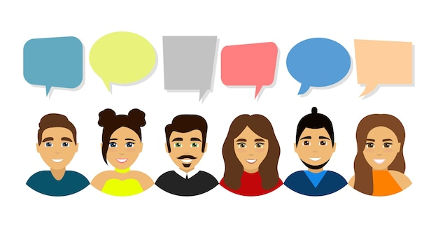 아바타 프로필의 집합입니다. 남성과 여성 아바타 계정. 사람들의 연설. 통신 기호.