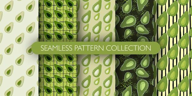 アボカドの半分のシルエットのシームレスな漫画のパターンのセットです。グリーンパレットコレクションのシンプルなフルーツプリント。
