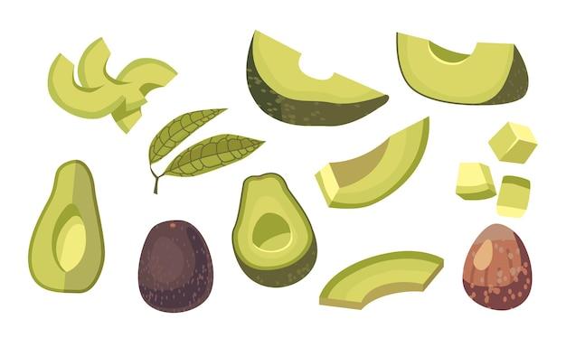 아보카도 전체, 깍둑썰기 또는 얇게 썬 조각, 녹색 잎 및 갈색 구덩이 세트. 신선한 과일 또는 야채 흰색 배경에 고립입니다. 채식 식품 성분 디자인 요소입니다. 만화 벡터 일러스트 레이 션