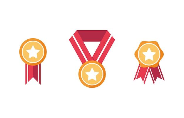 수상의 집합입니다. 첫 번째 장소 아이콘, 승리. 목에 리본과 메달 메달. 좋은 결과입니다. 금메달. 빨간색과 노란색