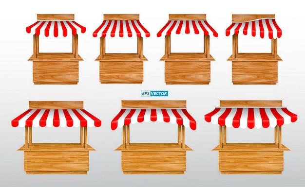 빨간색과 흰색 줄무늬 천막이 있는 다양한 키오스크와 나무 시장 스탠드가 있는 어닝 세트