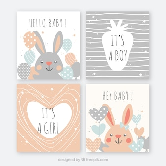 Set of baby cards in hand drawn style