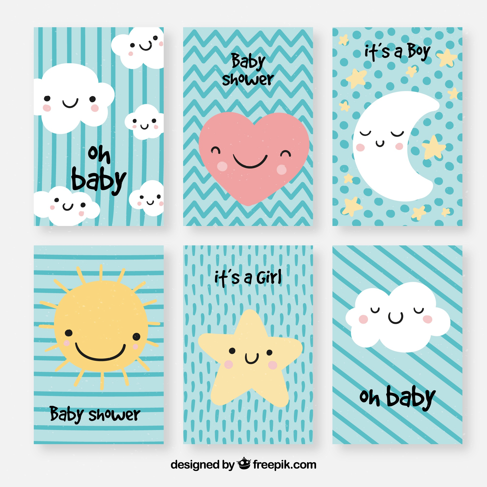 Set of baby cards with cute cartoons