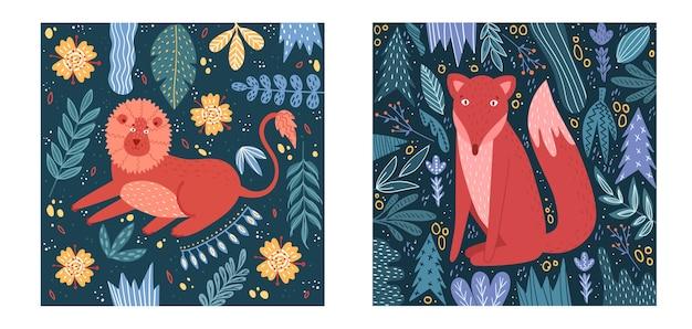 야생 동물과 아기 카드 세트입니다. 사자와 귀여운 카드입니다. 여우와 귀여운 카드.
