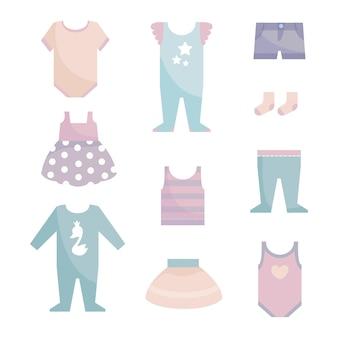 흰색 격리된 배경 파스텔 색조에 신생아 소년과 소녀를 위한 아기 옷 세트