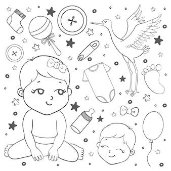 낙서 스타일의 아기 아이콘 세트입니다. 카드, 배너, 패턴, 포장지, 웹에 사용할 수 있습니다.