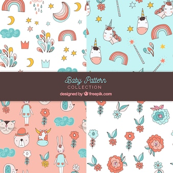 Set of baby patterns in hand drawn style