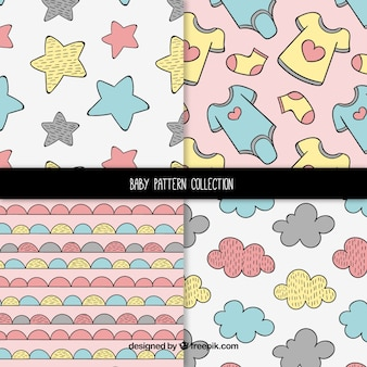Set of baby patterns with cute elements