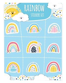 Набор наклеек детские радуги. солнце, облака, 9 наклеек в виде радуг. симпатичные детские элементы дизайна для печати на бумаге, украшения детских праздников. векторная иллюстрация. рука рисовать