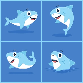 Набор детской акулы характер иллюстрации шаржа плоской концепции дизайна